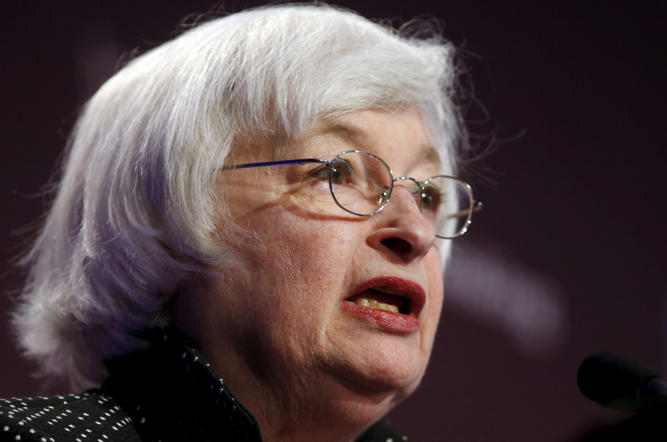 Federal Reserve Chair Janet Yellen addresses the Institute for New Economic Thinking Conference on Finance and Society at the IMF in Washington May 6, 2015. Yellen on Wednesday said the central bank is prepared to take further action to make the financial system safer.  REUTERS/Kevin Lamarque  - RTX1BSVS