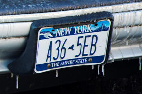 Icicles form on a New York license plate in New York January 7, 2014.