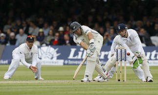 New Zealand's Ross Taylor plays a shot off the bowling of England's Moeen Ali during the second day of the first Test match between England and New Zealand at Lord's cricket ground in London, Friday.