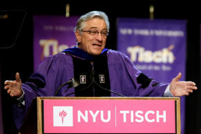 Robert De Niro addresses the class of 2015, faculty, and guests during New York University's Tisch School of the Arts commencement ceremony.