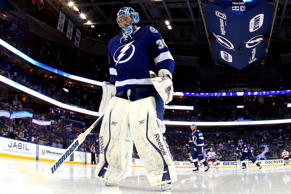 Ben Bishop #30 of the Tampa Bay Lightning looks on against the New York Rangers in Game Four of the Eastern Conference Finals during the 2015 NHL Stanley Cup Playoffs at Amalie Arena.