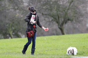 Daisy Lowe sports trendy walking boots.