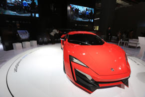SHANGHAI, CHINA - APRIL 20: (CHINA OUT) Red Lykan Hypersport which is one of the world only 7 sports cars shows at the 2015 Shanghai Auto Show on April 20, 2015 in Shanghai, China.