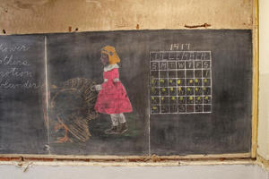 A chalkboard from 1917 uncovered in a public school in Oklahoma.