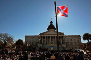 File photo of a Confederate flag that's part of a Civil War memorial on the grounds of the South Carolina State House in Columbia, South Carolina.
