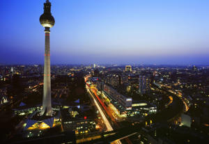 Panorama with TV Tower, Berlin, Germany.