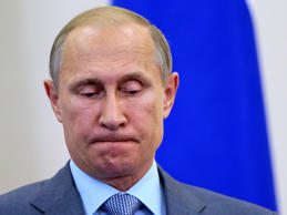 Russia's President Vladimir Putin reacts as he listens to his Finnish counterpart Sauli Niinisto during a news conference at the Bocharov Ruchei state residence in Sochi August 15, 2014.