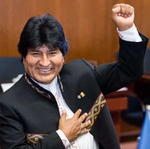 Bolivia's Evo Morales Ayma gestures during a round table meeting at the EU-CELAC summit in Brussels on Wednesday, June 10, 2015. European leaders and their Latin America and Caribbean counterparts meet on a biannual basis in an effort to maintain international and economic ties.