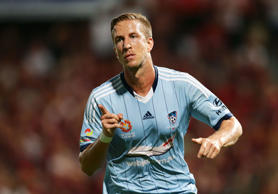 Marc Janko of Sydney FC celebrates scoring his second goal during the round 19 A-League match between the Western Sydney Wanderers and Sydney FC at Pirtek Stadium on February 28, 2015