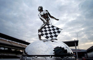 May 24, 2015; Indianapolis, IN, USA; A view of the Borg-Warner Trophy prior to the 2015 Indianapolis 500 at Indianapolis Motor Speedway.