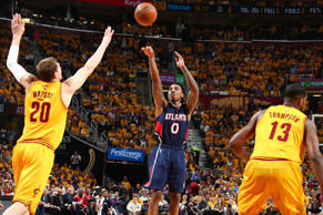 Jeff Teague of the Atlanta Hawks shoots the ball against the Cleveland Cavaliers in Game Three of the Eastern Conference Finals May 24 in Cleveland.