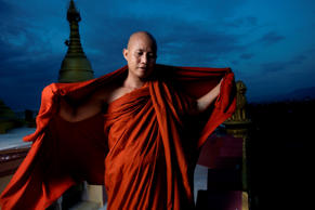 Monk Wirathu is the founder of the widely criticized anti-Muslim movement Campaign 969 in Mandalay, Myanmar.