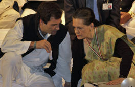 File: Rahul Gandhi, a lawmaker, speaks to Sonia Gandhi (R), who is his mother and India's ruling Congress party chief, during the Indian National Congress meeting in Jaipur, capital of India's desert state of Rajasthan January 20, 2013.