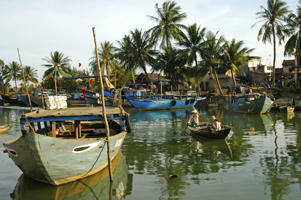 Boats in the harbour of Hoi An, Vietnam.