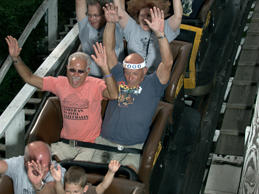 Vic Kleman taking his 4,000th ride on Kennywood's Jack Rabbit roller coaster, Aug. 15, 2010 in West Mifflin, Pa. The 78-year-old man rode the roller coaster 90 times in one day, bringing his lifetime total to 4,000 rides.