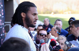Chicago Bears defensive tackle Ray McDonald speaks with the media after minicamp on Tuesday, April 28, 2015, at Halas Hall in Lake Forest, Ill. The team released McDonald after he was arrested Monday on a domestic violence charge.