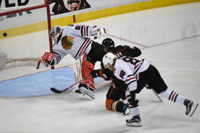 Anaheim Ducks left wing Matt Beleskey (39) scores a goal against Chicago Blackhawks goalie Corey Crawford (50) during the overtime period in game five of the Western Conference Final of the 2015 Stanley Cup Playoffs at Honda Center.