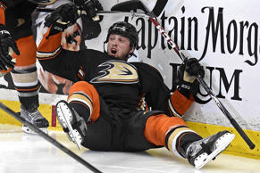 Anaheim Ducks left wing Matt Beleskey reacts after scoring the game-winning goal against the Chicago Blackhawks during the overtime period in game five of the Western Conference Finals of the Stanley Cup playoffs on May 25, 2015, at Honda Center in Anaheim, Calif. The Ducks won 5-4 to take a 3-2 lead in the series.
