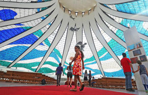 People gather inside the Cathedral of Brasilia on October 27, 2014 in Brasilia, Brazil.