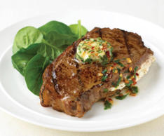 16.	Stuffed sirloin steak with chile and parsley butter