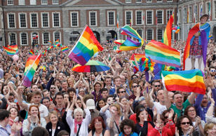 Yes supporters react at Dublin castle, Ireland, on Saturday.