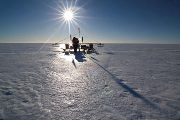 Scientists measure ice thickness on the Larsen C ice shelf.