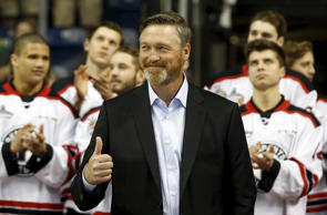 Colorado Avalanches head coach Patrick Roy gives a thumb up during a ceremony before the Memorial Cup hockey game between the Oshawa Generals and the Kelowna Rockets at the Colisee Pepsi in Quebec City.