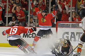 Chicago Blackhawks left wing Brandon Saad celebrates his goal against Anaheim Ducks goalie Frederik Andersen with Jonathan Toews during the second period in Game 6 of the Western Conference finals of the NHL hockey Stanley Cup Playoffs on May 27 in Chicago.