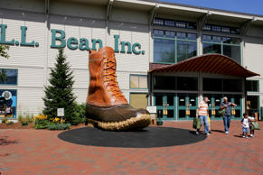 Giant boot L.L. Bean store Freeport Maine New England USA shopping entrance
