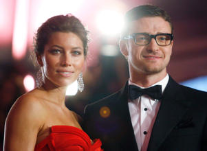Justin Timberlake (R) and Jessica Biel have named their new baby boy Silas.