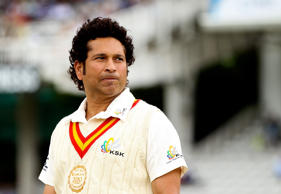 Sachin Tendulkar of MCC looks on prior to the MCC and Rest of the World match at Lord's Cricket Ground on July 5, 2014 in London, England.