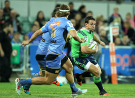 John Hardie of the Highlanders runs with the ball during the Super Rugby round 15 match between the Force and the Highlanders at nib Stadium on May 23, 2015 in Perth, Australia.