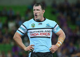 Paul Gallen of the Sharks reacts after a Storm try during the round three NRL match between the Melbourne Storm and the Cronulla Sharks at AAMI Park on March 21, 2015 in Melbourne, Australia.