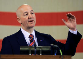 Nebraska Gov. Pete Ricketts gestures during a news conference in Lincoln, Neb., Wednesday, May 20, 2015.