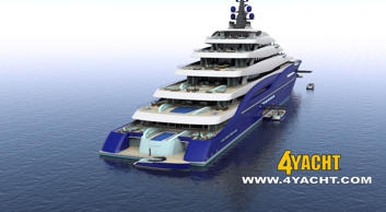 Rendering of the Double Century Superyacht