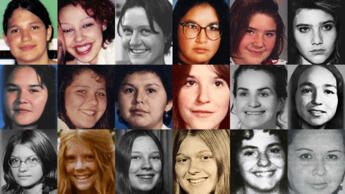 These images are of 18 women and girls whose deaths and disappearances are part of the RCMP's investigation of the Highway of Tears in British Columbia.