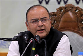 File: India's new Finance and Defence Minister Arun Jaitley speaks during a news conference in Srinagar June 15, 2014.