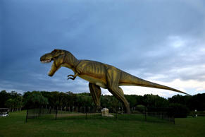 Storm clouds gather over the giant Tyrannosaurus Rex statue on the golf course at the Palmer Coolum Resort in Queensland, Australia.