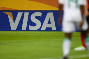 Visa logo at the Rudolf Harbig Stadium in Dresden, Germany. Jens Wolf/dpa/Corbis