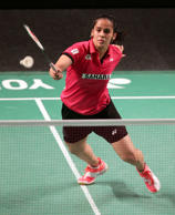 Saina Nehwal of India lunges forward to return a shot during her women's singles quarterfinal match against Wang Shixan of China at the Australian Open Badminton tournament in Sydney Friday, May 29, 2015.