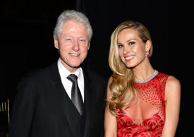 Former President Bill Clinton and Petra Nemcova attend the Happy Hearts Fund Gala with Chopard 10 year anniversary of the Indian Ocean tsunami tribute at Cipriani 42nd Street on June 19, 2014 in New York City.
