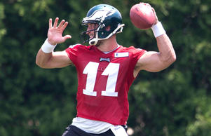 Tim Tebow #11 of the Philadelphia Eagles participates in OTA's on May 28, 2015 at the NovaCare Complex in Philadelphia, Pennsylvania.