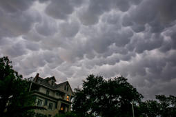 The sky looks ominous after days of heavy rain on May 25 in Austin, Texas.