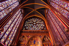 Stained Glass windows in upper chapel, Sainte-Chapelle Church, Paris.