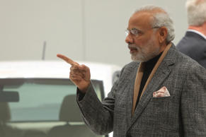 Prime Minister Narendra Modi gestures during his China trip.