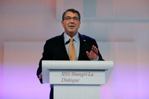 "U.S. Secretary of Defense Ashton Carter delivers his speech about ""The United States and Challenges to Asia-Pacific Security"" during the 14th International Institute for Strategic Studies Shangri-la Dialogue (IISS) Asia Security Summit, Saturday, May 30, 2015, in Singapore."