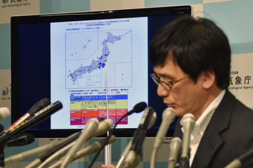 Japan Meteorological Agency earthquake expert Koji Nakamura speaks during a press conference in Tokyo on May 30, 2015, after a 7.8-magnitude earthquake struck off the Japanese coast.