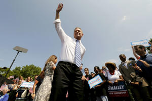 Former Governor of Maryland Martin O'Malley waves to the crowd after formally announcing his campaign for the 2016 Democratic presidential nomination in Federal Hill Park in Baltimore, Maryland. Jim Bourg/Reuters