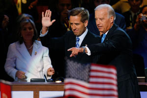 FILE – Vice President Joe Biden with his son Delaware Attorney General Beau Biden