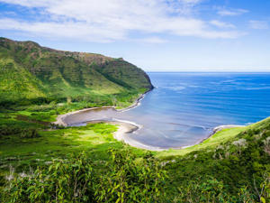 Molokai's Halawa Bay in Hawaii (Courtesy Hawaii Tourism Authority).